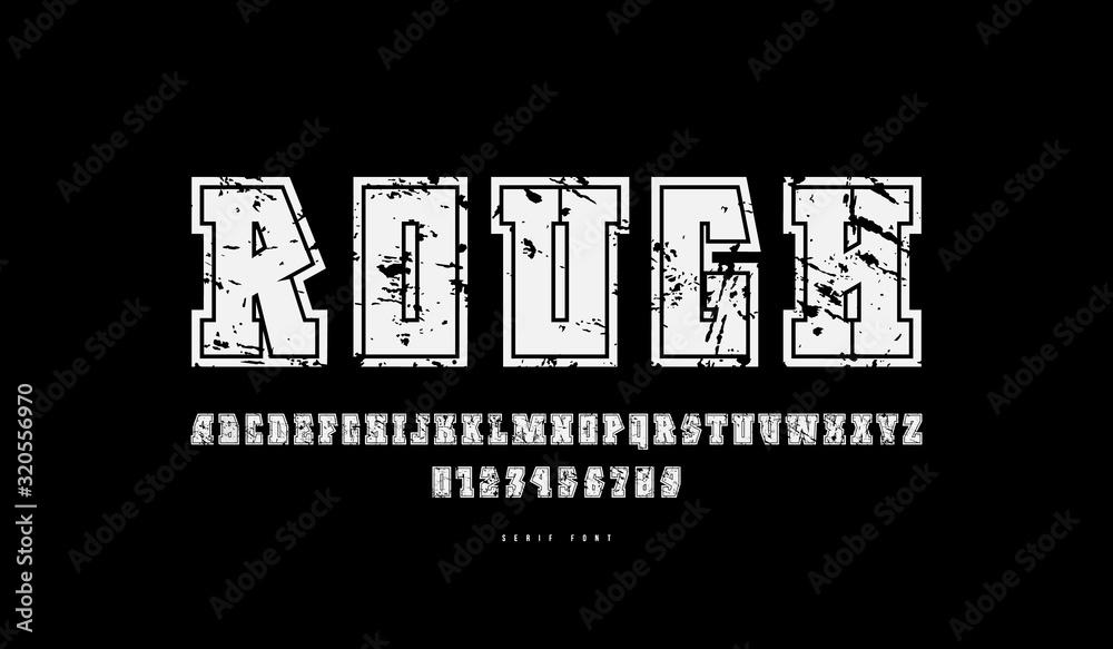 Fototapeta Decorative geometric serif font with contour