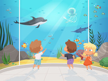 Kids In Aquarium. Childrens Wi...