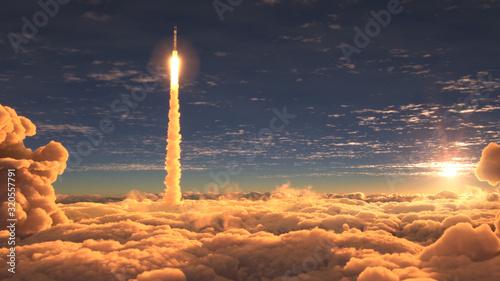 Fotografia Rocket flies through the clouds at sunset