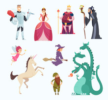 Fairy Tales Heroes. Witch Wizard Princess Dragon Funny Characters In Cartoon Style Vector Set. Fantasy Cartoon Character, Dragon And Sorcerer Illustration. Fantasy Princess, Medieval Magic Knight