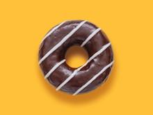 Doughnut In Chocolate Glaze On...