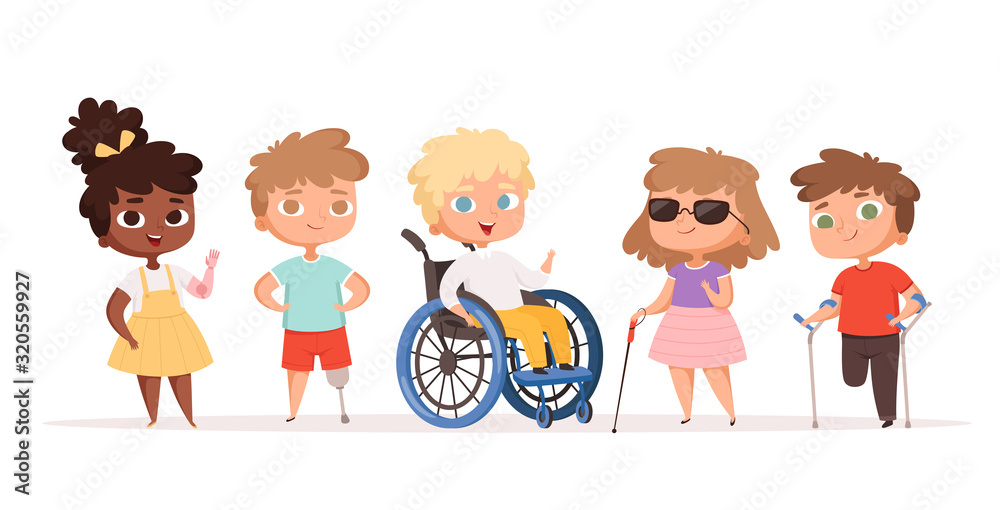 Fototapeta Disability kids. Children in wheelchair unhealthy people handicapped vector people. Disability child, kid handicap cartoon illustration