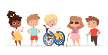 Disability Kids. Children In Wheelchair Unhealthy People Handicapped Vector People. Disability Child, Kid Handicap Cartoon Illustration