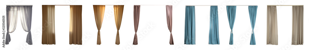 Fototapeta Set with different elegant curtains on white background. Banner design