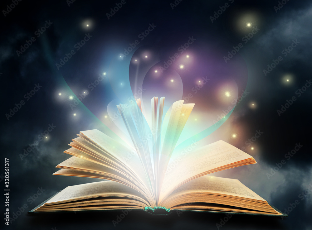 Fototapeta Open book with fairytales and magic lights. Creative design