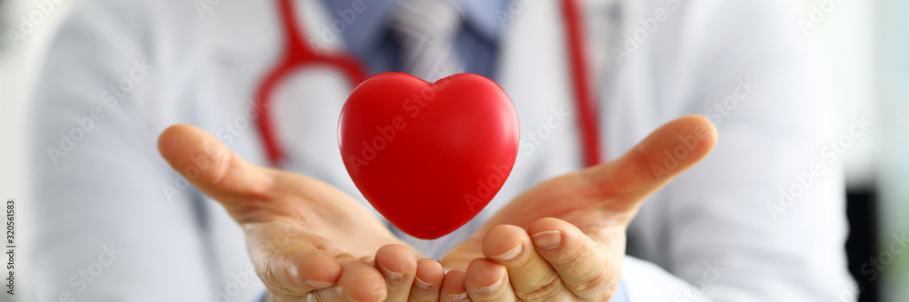 Fototapeta Male medicine doctor hands holding and covering red toy heart