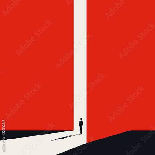Fototapeta Business or career opportunity vector concept with businessman in gate. Symbol of new job, success. obraz