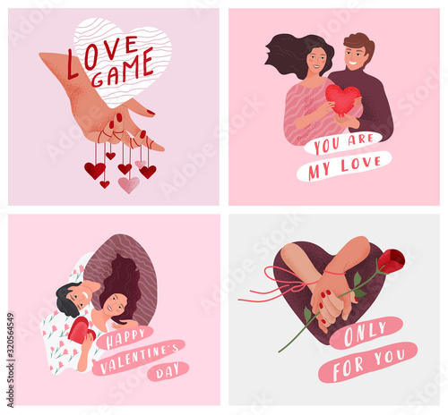 Fototapeta Love story of happy romantic couple. Valentines Day cute greeting card or poster. Woven hands of lovers with rose, hand play with heart. Flyers, invitation, brochure. Vector design concept obraz