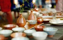 Beautiful Clay Teapots And Mugs, Fired Ceramics.