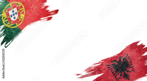 Photo Flags of Portugal and Albania on white background