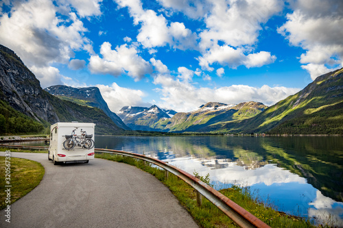 Fotomural Family vacation travel RV, holiday trip in motorhome