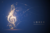 Gold light music note on blue background