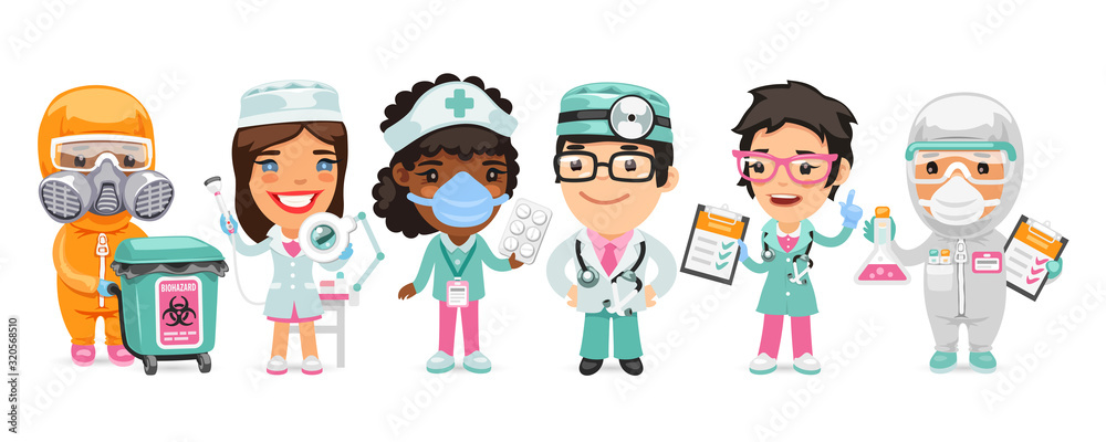 Fototapeta A group of cartoon doctor characters with different specializations stand on a white background. Biohazard cargo transporter, beautician, nurse, therapist and pharmacist. Flat style.