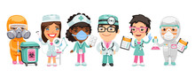 A Group Of Cartoon Doctor Characters With Different Specializations Stand On A White Background. Biohazard Cargo Transporter, Beautician, Nurse, Therapist And Pharmacist. Flat Style.