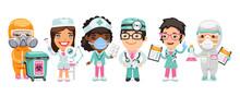 A Group Of Cartoon Doctor Char...