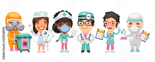 A group of cartoon doctor characters with different specializations stand on a white background. Biohazard cargo transporter, beautician, nurse, therapist and pharmacist. Flat style. - 320568510