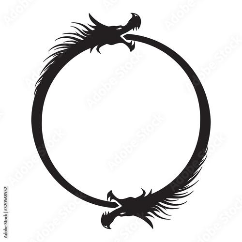 Double Dragons Ouroboros Infinity Symbol Fototapete
