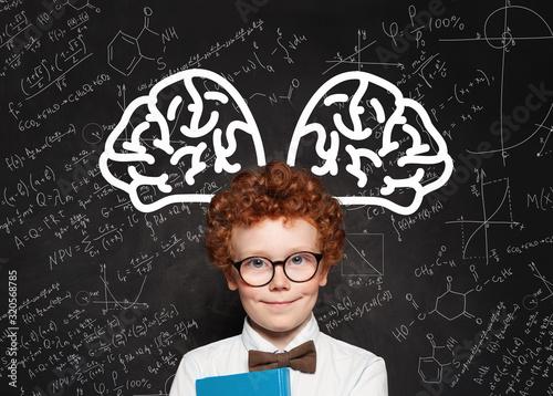 Carta da parati Cute genius kid student in glasses portrait