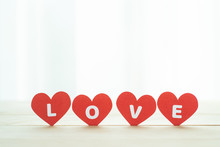Love Four Red Heart On Wooden ...