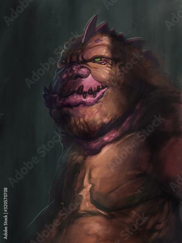 digital painting of orange demon with dramatic lighting - digital fantasy illustration