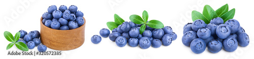 Fototapeta fresh blueberry with leaves isolated on white background closeup. Set or collection obraz