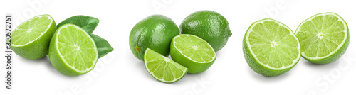 Cuadros en Lienzo lime with half and leaf isolated on white background