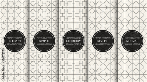 Set of vector seamless simple geometric patterns. Repeating ornamental backgrounds - oriental grid textures. Vintage linear prints