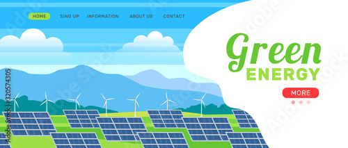 Photo alternative green energy banner with solar panels and wind turbines