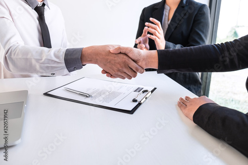 Good deal of interview, Business people and recruiter shaking hands greeting or Wallpaper Mural