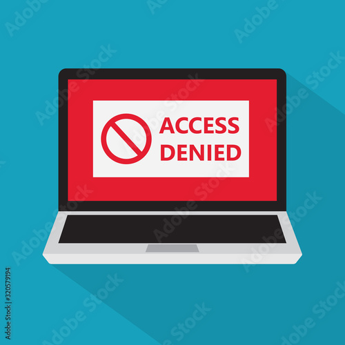 access denied sign on a laptop screen icon- vector illustration Canvas Print
