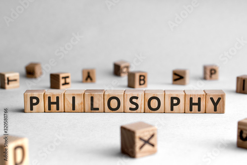 Obraz Philosophy - words from wooden blocks with letters, love of wisdom philosophy concept, white background - fototapety do salonu