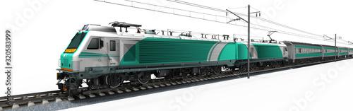 Obraz 3d Elektro Lokomotive mit Passagierwagen auf der Schiene, freigestellt - fototapety do salonu