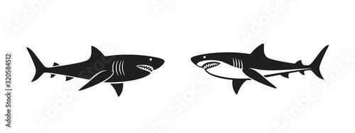 Fotografie, Tablou Shark logo. Isolated shark on white background