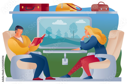 Fotografie, Tablou man and woman ride a train together, they are sitting in armchairs and a shelf a