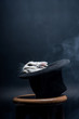 white rabbit sitting in magical hat on stool in dark smoky room