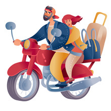 A Motorcycle Rides On Which A Man And A Woman Are Sitting Who Are Traveling, On A Motorcycle A Lot Of Luggage From Bags And Suitcases, Isolated Object On A White Background,