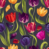 Fototapeta Tulipany - Seamless floral pattern with multi-colored tulip flowers, leaves and petals on a  black background. Hand drawn, high realistic, vector,spring  flowers for fabric, prints, decoration, invitation cards.