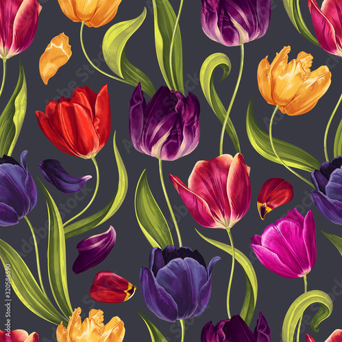 Seamless floral pattern with multi-colored tulip flowers, leaves and petals on a  black background Canvas Print