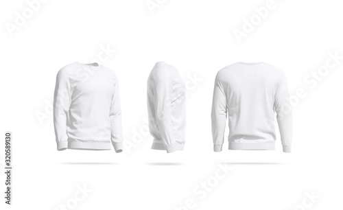 Fényképezés Blank white casual sweatshirt mock up, side and back view