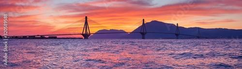 Vászonkép Sunset view on the bridge near Patras
