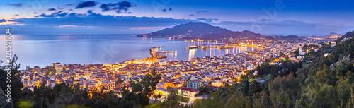 Obraz na plátně Panoramic city and port view on the island of Zakynthos, Greece