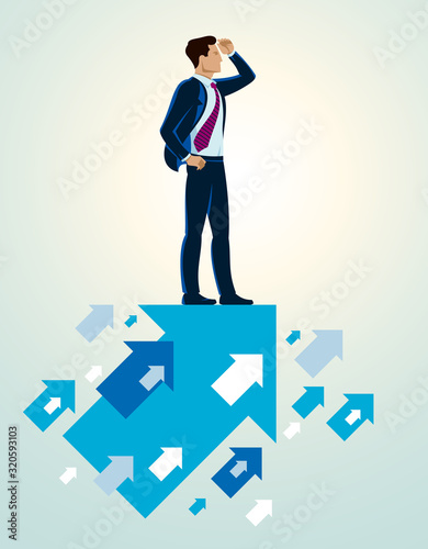 Fototapeta Businessman looking for opportunities business concept vector illustration, young handsome business man searches new perspectives. obraz