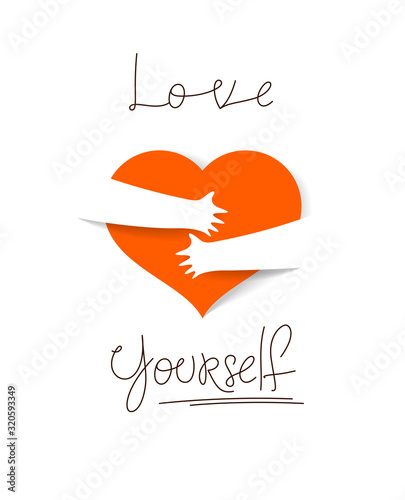 Heart and hands hugging love yourself vector concept, loving hands, adore passion and care stylish illustration Canvas Print