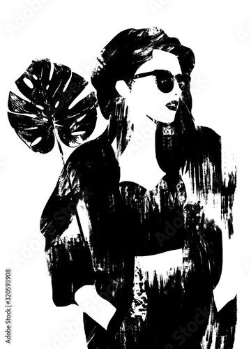 kobieta-afrykanska-lub-azjatycka-ilustracja-moda-w-czerni-i-bieli-szkic-mody-malarstwo-abstrakcyjne-kobieta