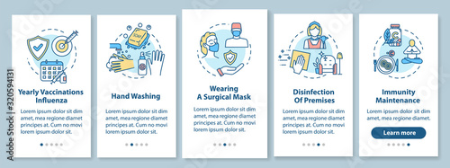 Obraz Flu prevention onboarding mobile app page screen with concepts. Hygiene, immunization. Influenza treatment walkthrough 5 steps graphic instructions. UI vector template with RGB color illustrations - fototapety do salonu
