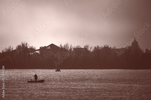 Astrakhan region. Fishing on the Volga River. Fishing eldorado. Canvas Print