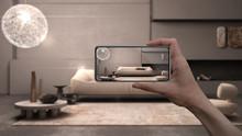 Hand Holding Smart Phone, AR A...
