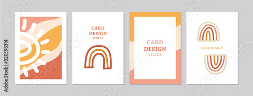 Abstract cards set with hand drawn rainbows Canvas Print