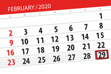 Calendar Planner For The Month February 2020, Deadline Day, 29, Saturday