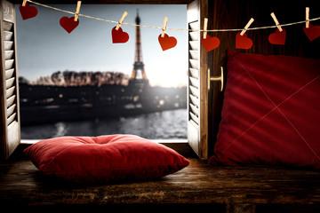 Wooden retro window space and paris landscape.Valentine's day background